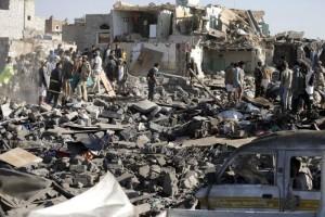 rubble from bombing in Yemen